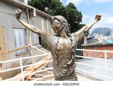 RIO DE JANEIRO, NOVEMBER 29, 2012: Michael Jackson memorial at Santa Marta in Rio de Janeiro.
