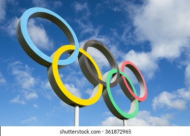 RIO DE JANEIRO - OCTOBER 14, 2015: Olympic rings stand under bright blue sky.