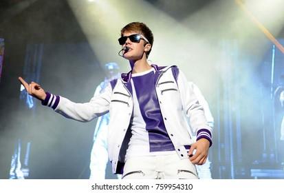 Rio de Janeiro, October 5, 2011. Singer Justin Bieber performs during his show at Engenhão Stadium in Rio de Janeiro, Brazil.