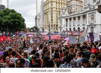 Rio de Janeiro, RJ / Brasil - 09 29 2018: Public act against agenda defended by presidential candidate of Brazil, Jair Bolsonaro ('Ato contra agenda defendida por Jair Bolsonaro).