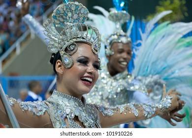 RIO DE JANEIRO, RJ /BRAZIL - FEBRUARY 18, 2012: Samba School parade in Sambodromo. Estacio School. Dancer during the festival on february 18, 2012 in Rio de Janeiro.