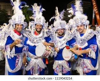 Rio de Janeiro, RJ / Brazil - 02 05 2016 - Percussionists of samba school 'Alegria da Zona Sul', performing during 2016 carioca Carnival parade along the sambadrome.
