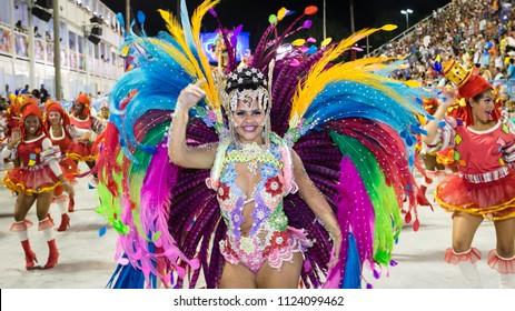 Rio de Janeiro, RJ / Brazil - 02 06 2016 - Pretty dancer of samba school 'Renascer de Jacarepagua', performing during 2016 carioca Carnival parade along the Sambadrome.