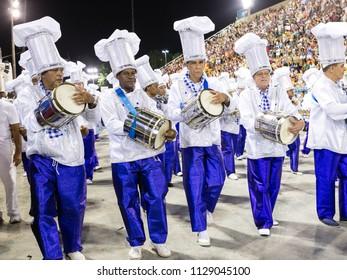 Rio de Janeiro, RJ / Brazil - 02 07 2016 - Percussionists of samba school 'Caprichosos de Pilares', performing during 2016 carioca Carnival parade along the Sambadrome.