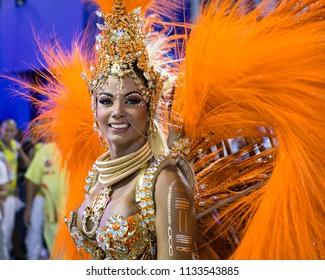 Rio de Janeiro, RJ / Brazil - 02 07 2016 - Pretty dancer of samba school 'Estacio de Sa', performing during 2016 carioca Carnival parade along the Sambadrome.