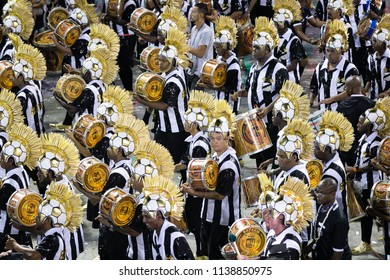 Rio de Janeiro, RJ / Brazil - 02 08 2016 - Percussionists of samba school 'Grande Rio', performing during 2016 carioca Carnival parade along the Sambadrome.