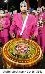 Rio de Janeiro, RJ / Brazil - 02 08 2016 - Percussionist of samba school 'Academicos do Salgueiro', performing during 2016 carioca Carnival parade along the Sambadrome.