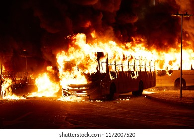 Rio de Janeiro, RJ, Brazil, April 28, 2018:    Brazilian Crisis Historical General Strike Burn Buses