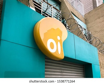 Rio de Janeiro, RJ, Brazil - October 21 2019: Logo of brazilian telecommunications company Oi S.A. in judicial reorganization