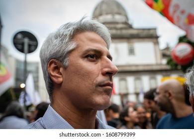 Rio de Janeiro / RJ / Brazil, March 22, 2019: Public act organized by syndicates and left-wing parties against Brazilian Social Security Reform. Congressman Alessandro Molon.