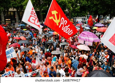 Rio de Janeiro / RJ / Brazil, March 22, 2019: Public act organized by syndicates and left-wing parties against Brazilian Social Security Reform.