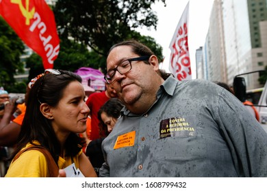 Rio de Janeiro / RJ / Brazil, March 22, 2019: Public act organized by syndicates and left-wing parties against Brazilian Social Security Reform. Alderman Tarcisio Motta (R).