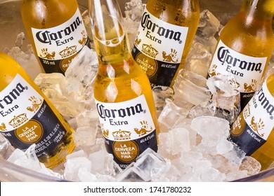 Rio de Janeiro, RJ, Brazil. 07.01.2018. bottles of Corona beers on ice