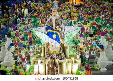 RIO DE JANEIRO, RJ /BRAZIL - MARCH 03:  Rio Samba School Mocidade Independente de Padre Miguel perform, especial group in Carnival 2014 at Marques de Sapucai on march 03, 2014 in Rio de Janeiro