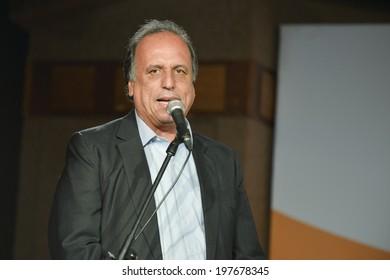 RIO DE JANEIRO, RJ /BRAZIL - JUNE 09: State governor Luiz Fernando Pezao during inauguration of the Media Center for World Cup 2014 on june 09, 2014 in Rio de Janeiro.