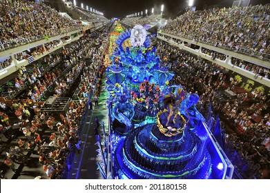 RIO DE JANEIRO, RJ /BRAZIL - February 11, 2013: World's famous carnival in Rio de Janeiro, samba school parading in Sambadromo, the carnival stadium,  with 90000 spectators.