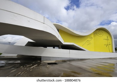 Rio de Janeiro, RJ, Brazil-April 9, 2010: Oscar Niemeyer's Popular Theater of Niteroii. The theatre presents the concrete curves that make up the architect's identifying mark, built in 2008