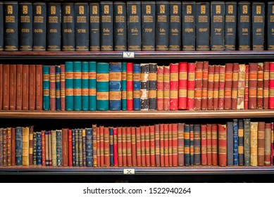 Rio de Janeiro, RJ. September 12, 2019: Books in shelves at the Royal Portuguese Reading Office downtown Rio de Janeiro, founded in 1837 by a group of 43 political refugees from Portugal