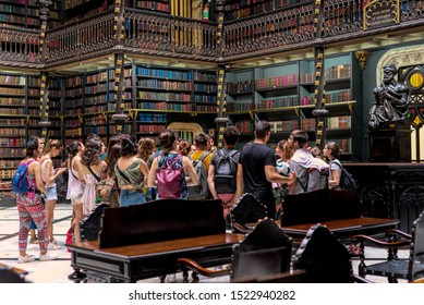 Rio de Janeiro, RJ. September 12, 2019: Group of students visiting the Royal Portuguese Reading Office downtown Rio de Janeiro, founded in 1837 by a group of 43 political refugees from Portugal
