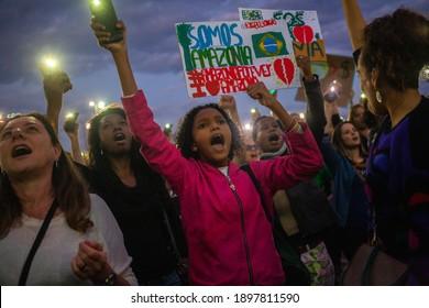 Rio de Janeiro, RJ-Brazil; 08-25-2019: Protests in Brazil to denounce the indiscriminate burning in the Amazon.