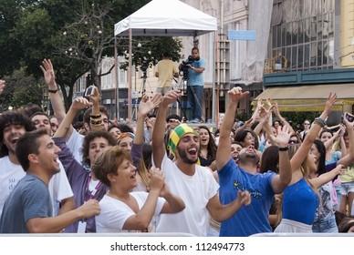 RIO DE JANEIRO - SEPT 02: people dance and sing during the event Medita Rio, September, 02, 2012 in Rio de Janeiro, Brazil