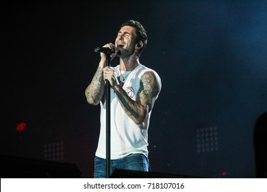 RIO DE JANEIRO, SEPTEMBER 16, 2017: Adam Levine, from Maroon 5 band, on stage of Rock In Rio Festival.