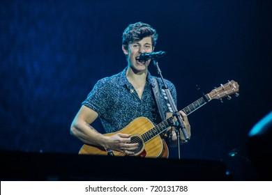 RIO DE JANEIRO, SEPTEMBER 16, 2017: Singer Shawn Mendes on stage of Rock In Rio Festival, Rio de Janeiro.