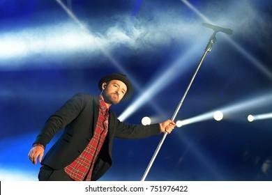 Rio de Janeiro, September 18, 2017. Singer Justin Timberlake, during the presentation of his show at Rock in Rio 2017 in Rio de Janeiro, Brazil.