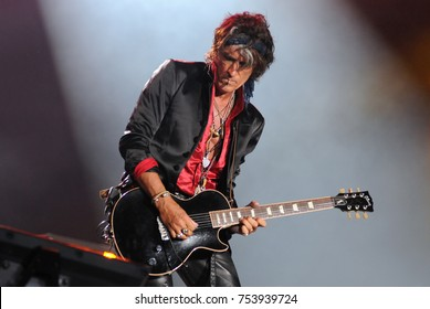 Rio de Janeiro, September 24, 2015. Guitarists Joe Perry during their concert of the band Hollywood Vampires at Rock in Rio 2015 in Rio de Janeiro, Brazil