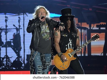 Rio de Janeiro, September 24, 2017. Singer Axl Rose and guitarrist Slash during Guns N 'Roses performance during the show at Rock in Rio 2017 in Rio de Janeiro, Brazil.