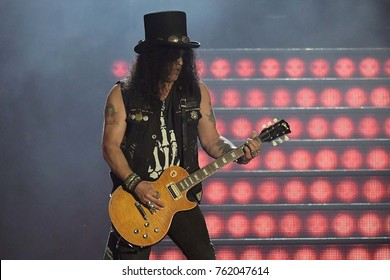 Rio de Janeiro, September 24, 2017. Slash guitarist Guns N 'Roses, during the show at Rock in Rio 2017 in the city of Rio de Janeiro, Brazil.