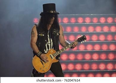Rio de Janeiro, September 24, 2017. Slash guitarist Guns N 'Roses, during the show at Rock in Rio 2017 in the city of Rio de Janeiro, Brazil.