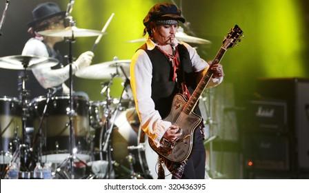 Rio de Janeiro, September 24th, 2015- Rock in Rio. US Actor Johnny Depp performs with the Hollywood Vampires band at the Rock in Rio concert. . Photo Antonio Scorza/