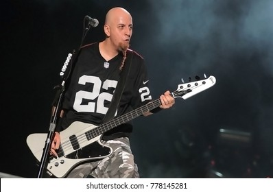 Rio de Janeiro, September 25, 2015. bass player Shavo Odadjian of System Of A Down Band during presentation at Rock in Rio 2015 in Rio de Janeiro, Brazil