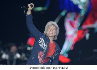 Rio de Janeiro, September 30, 2019. Singer Jon Bon Jovi of the band Bon Jovi, during a show at Rock in Rio 2019 in Rio de Janeiro