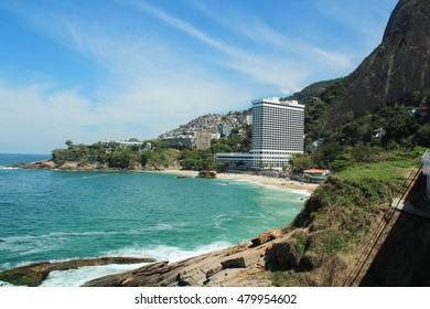 RIO DE JANEIRO, SEPTEMBER 4, 2016: View of Vidigal Slum and Sheraton Hotel in front of beach