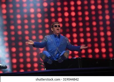 RIO DE JANEIRO, SETEMBER 20, 2015: Elton John on stage during his show at Rock In Rio Festival.