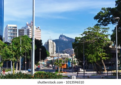 Rio de Janeiro urban center with corcovado hill in the background