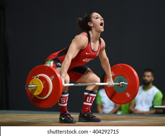 Rio de Janeiro-Brazil, April 10, 2016 preparation test for Olympic Games 2016- Weight Lifting