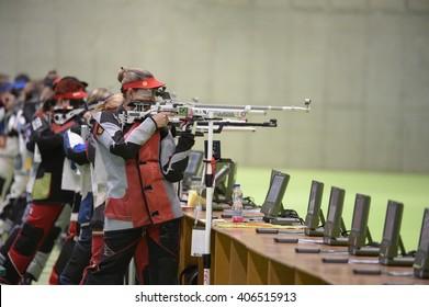 Rio de Janeiro-Brazil, April 16, 2016 Event sport shooting test for the 2016 Olympic Games