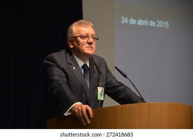 Rio de Janeiro-Brazil, April 24, 2015. President of Petrobras Aldemir Bendine, at the press conference in Rio de Janeiro.