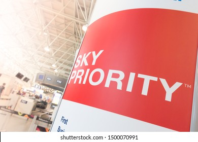 Rio de Janeiro/Brazil - August 26th 2019: Sky Priority Sign in Galeão International Airport - Priority By Air France and KLM Airlines - Priority Throughout your Entire Journey Inside the Airport