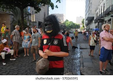 Rio de Janeiro-Brazil February 01, 2017, street carnival in Rio de Janeiro ,carnival block of Rio de Janeiro