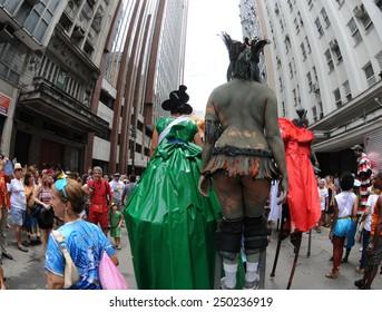 Rio de Janeiro-Brazil February 20, 2014, street carnival in Rio de Janeiro ,Escravos da Maua (traditional carnival block of Rio de Janeiro) parading in the south of the city.