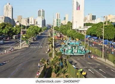 RIO DE JANEIRO/BRAZIL - February 21, 2015: View Avenida Presidente Vargas - Cars grooming Allegorical of Samba Schools - Carnival 2015 winners of the parade
