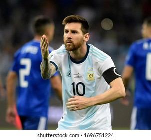 Rio de Janeiro-Brazil, July 15, 2019 soccer player Lionel Messi during a match between the teams of Argentina and Paraguay at Maracanã stadium