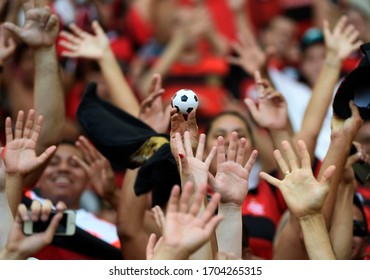Rio de Janeiro-Brazil, March 10, 2020 small soccer ball. Remembering the closure of the stadiums due to the covid19