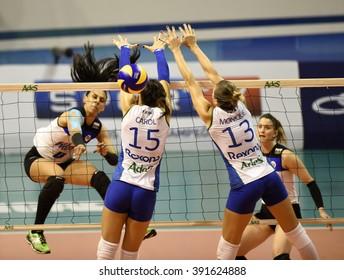 Rio de Janeiro-Brazil, March 15, 2016 volleyball game between the teams Rexona -RJ and Pinheiros, the Brazilian championship volleyball
