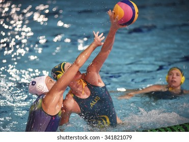 Rio de Janeiro-Brazil, November 17, 2015- Women's Tournament of water polo. Brazil and Australia
