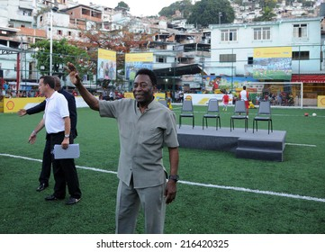 Rio de Janeiro-Brazil September 10, 2014 - Pele during the inauguration of the football field, Mineira community in the central zone of Rio de Janeiro